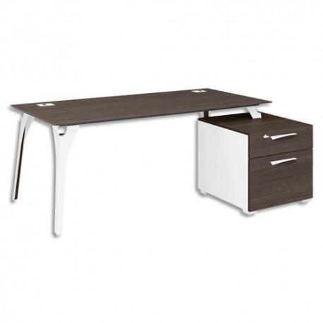 GAUTIER Bureau pieds métal + bloc 2 tiroirs réversible Xenon - Dim : L190 x H75 x P90 cm chêne Royal
