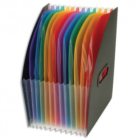 VIQUEL Trieur Cornerbox Rainbow 12 compartiments, polypro 12/10e, 2 poignées, noir intérieur multicolore