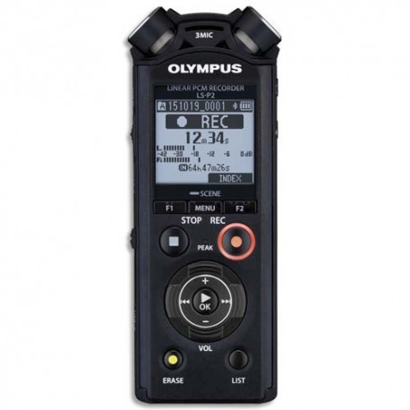 OLYMPUS Enregistreur num pro LS-P2, 4Go,USB, MP3/PCM, fonctions musique, 3micro,Bluetooth V414151BE000