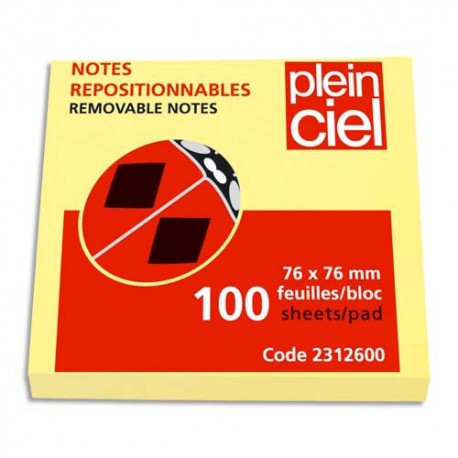 PLEIN CIEL Bloc de 100 feuilles repositionnables 76x76 jaune