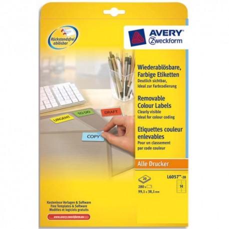 Etiquette AVERY L6057 - Boite de 280 Etiquettes de couleur enlevable jaune 99,1x38,1mm L6057-20