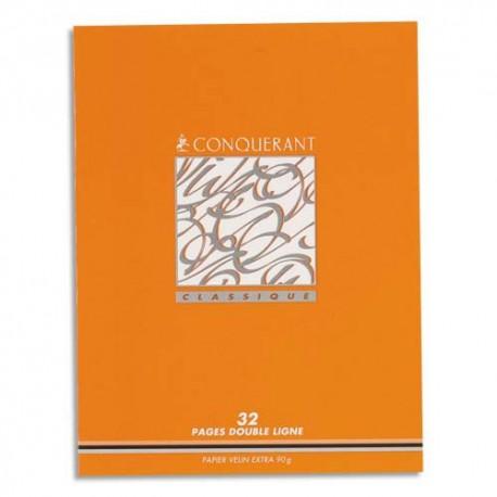 Cahier 17x22  32 pages ligne 2 mm interligne 8 mm piqure papier 90g
