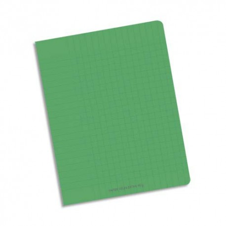 Cahier 17x22 32 pages double ligne 3mm interligne verticale et marge piqure 90g Couverture polypropylène vert