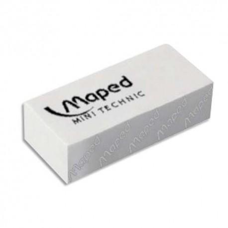 Gomme Maped mini technic petit modèle avec fourreau pour le crayon, vendue par boîte de 36