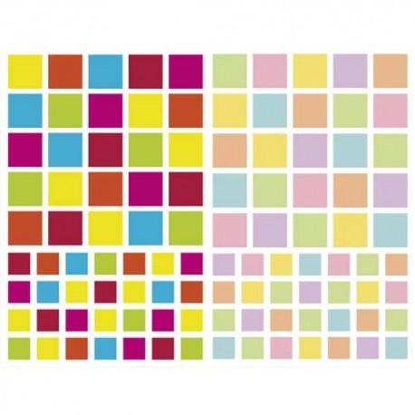 MAILDOR Sachet de 4 planches 10,5x16cm, 212 gommettes Initial carré couleurs vif/pastel assorties