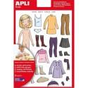 AGIPA Sachet 2 feuilles 37 gommettes fille 1 garde robe été, 1 garde robe hiver, adhésif enlevable