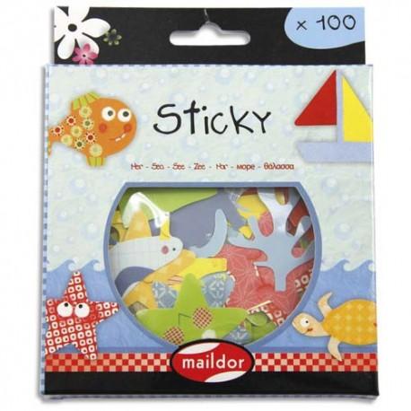 MAILDOR Boite de 100 gommettes Sticky découpées repositionnables thème la mer.