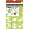 DTM Lot de 24 mini-pochoirs détachables thème monde marin. Réutilisables et lavables.