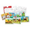 AGIPA 12 cartes à sable 21X15cm, support prédécoupé autoadhésif, 6 visuels thème animaux