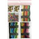 Kit 8 bracelets brésiliens : 36 échevettes, 100 perles, 20 grelots, notice