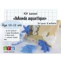 Kit savon : moule thermoformé monde marin, 2 blocs de savon, 2 pipettes, 1 colorant liquide, une notice