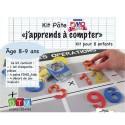 Kit Fimo : emporte-pièces chiffres, 4 pains FIMO Kids, fiche créative, décor de jeu calcul
