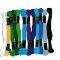 Lot de 12 échevettes de 7m à 6 brins en coton pour fabriquer des bracelets brésiliens, bleus assortis