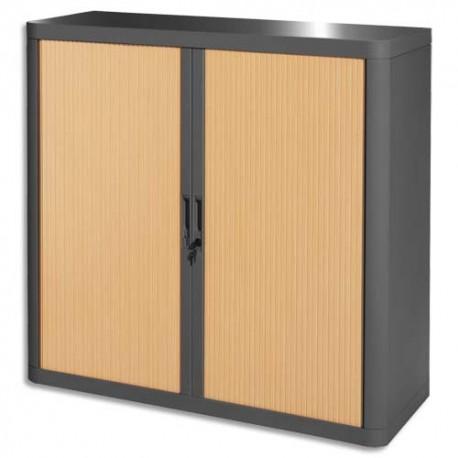 PAPERFLOW EasyOffice armoire démontable corps en PS teinté Anthracite rideau Hêtre L110x H104x P41,5 cm