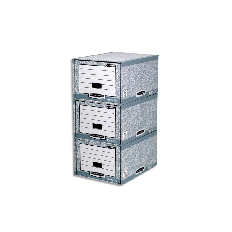 tiroir de rangement bankers box montage automatique en carton recycl gris blanc direct papeterie. Black Bedroom Furniture Sets. Home Design Ideas