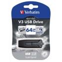 VERBATIM Clé USB 3.0 Store 'n' Go V3 64Go Noir/Gris + redevance 49174