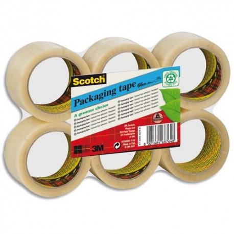 Ruban adhésif d'emballage Scotch PVC 100% recyclé 55 microns - Dimensions H50 mm x L66 mètres transparent