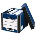 Archivage BANKERS BOX - Caisse PRESTO L40xh25,7xp34cm, montage automatique, carton recyclé blanc/bleu