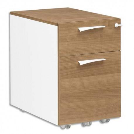 GAUTIER Caisson mobile 2 tiroirs Xenon - Dimensions : L42 x H61 x P60 cm coloris merisier Italien