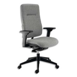 Siège Ergos dossier et assise en tissu gris cendre, piètement noir, à mécanisme synchrone - Accoudoirs fournis