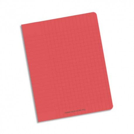 Cahier 17x22 32 pages Seyès interligne 2,5mm piqure papier 90g Couverture polypropylène rouge