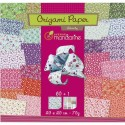 AVENUE MANDARINE Pochette de 60 feuilles origami 20x20cm, 70g, recto verso + 1 planche stickers yeux