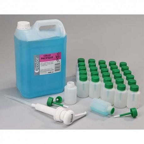 OCOLOR Bidon de 5L de colle synthétique forte, 1 pompe 20ml, 30 flacons-pinceaux anti verse 80 ml vides
