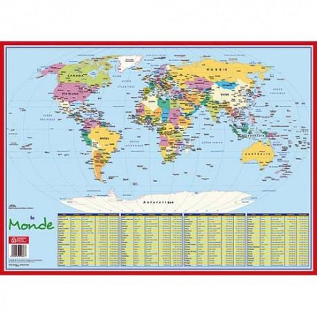 CBG Sous main carte monde, format 40,5 x 55 cm