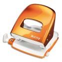 Perforateur 2 trous Leitz orange métalisé 30 feuilles réglette à clic. Effort réduit de 60%. Livré en boite.