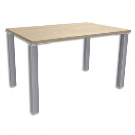SIMMOB Bureau droit 4 pieds EXPRIM - Dimensions : L120 x H72,5 x P80 cm Chêne clair aluminium