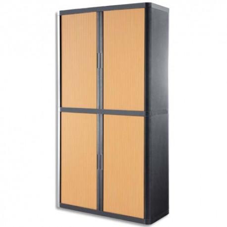 PAPERFLOW EasyOffice armoire démontable corps en PS teinté Anthracite rideau Hêtre L110x H204x P41,5 cm
