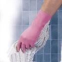 MAPA Lot de 10 paires de Gants ménage en latex relief antidérapant intérieur coton L30 cm Taille 8 rose