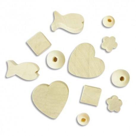 Sachet de 300 perles en bois brut à décorer, formes assorties, 50 x 6 modèles