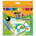 Crayon de couleur aquarellable Bic Aquacouleur corps 17,5cm pochette de 24 Coloris assortis