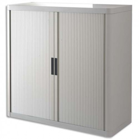 PAPERFLOW EasyOffice armoire démontable corps en PS teinté et rideau Gris - Dim L110x H104x P41,5 cm