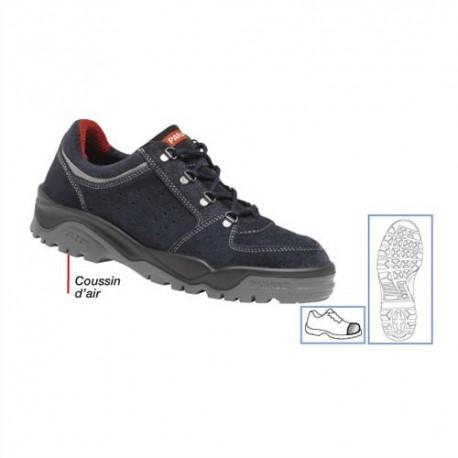 PARADE Paire de Chaussures Trekking basse, croûte de cuir avec renforts latéraux Pointure 45 bleu marine