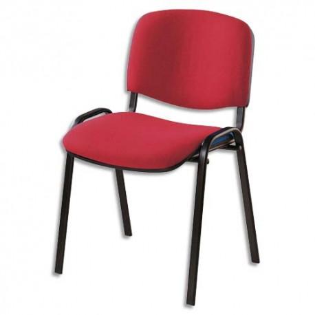 Chaise de conférence Iso Classic en tissu polyfibre rouge, structure 4 pieds en métal époxy noir