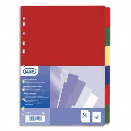 Intercalaire A4 maxi ELBA - Jeu de 6 intercalaires polypro 3/10e opaque coloré