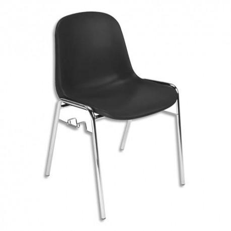Chaise Coque noire Didiplast avec accroche, piètement en acier chromé, empilable 40 x 40 cm, hauteur 81cm