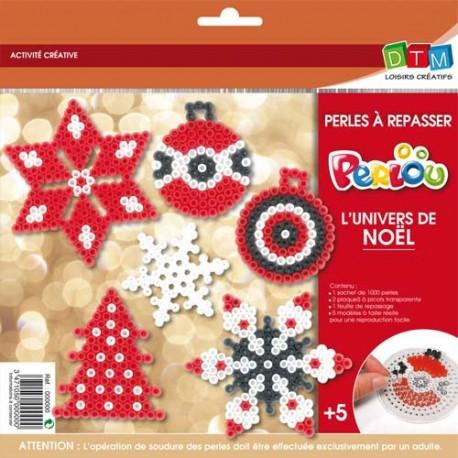 PERLOU Kit d'activité perles à repasser, 1000 perles assorties, 1 plaque, 5 modèles, thèmes Noël