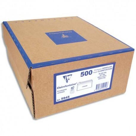 Enveloppes blanches CLAIREFONTAINE Boite de 500 PEFC format DL et C5 80 grammes auto-adhésive