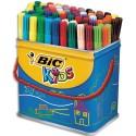 Feutre de coloriage Bic Visa pointe fine maxi pot de 84 feutres dessin 12 couleurs assorties