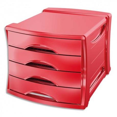Module de classement Esselte - Classement 4 tiroirs Europost Vivida rouge - L28,5 x H24,5 x P38 cm