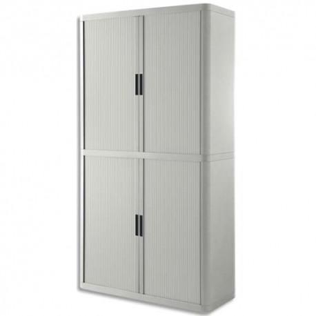 PAPERFLOW EasyOffice armoire démontable corps en PS teinté et rideau Gris - Dim L110x H204x P41,5 cm