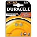 DURACELL Blister de 2 piles 357/303 oxyde d'argent Duralock pour montres