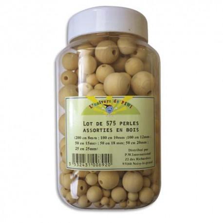 PW INTERNATIONAL Bocal de 575 perles en bois brut diamètre assortis à décorer