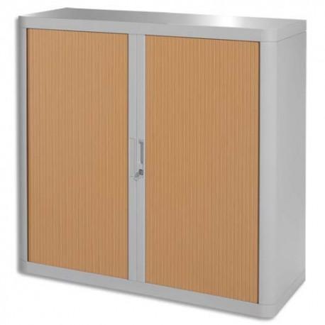 PAPERFLOW EasyOffice armoire démontable corps en PS teinté Gris rideau Hêtre - Dim L110x H104x P41,5 cm