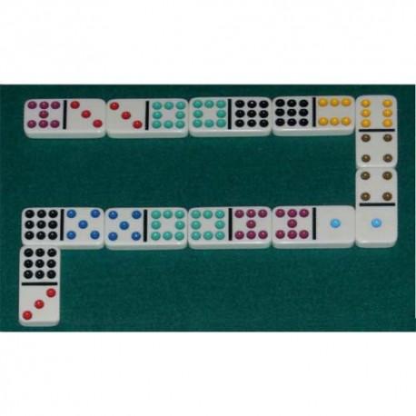 Jeu Super Domino 55 dominos à point, 9 couleurs dimensions 5x2,5 cm - 24 possibilités pour 1 à 11 joueurs