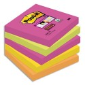 Bloc notes repositionnables Post-it lot de 5 assortis SUPER STICKY 7,6 x 7,6 cm 90 feuilles couleurs néon