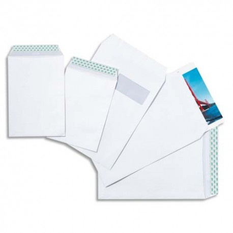 Neutre boite 250 pochettes blanches auto-adhésives 90g format C5 162x229 mm
